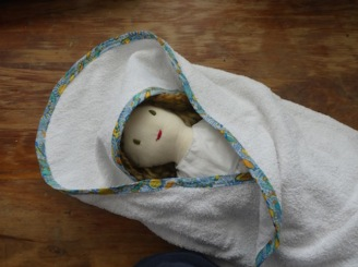 Sewing craft baby towel doll